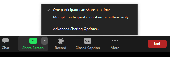 Share screen button is located in the bottom toolbar (also known as the in-meeting toolbar) between, for the host, the Chat and Record buttons.  The caret icon is located in the upper right hand corner.  Advanced sharing options is the lowest option in the drop down menu.