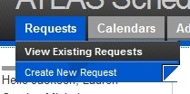 Hover over 'Requests' and click 'View Existing Request'