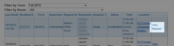 Click 'View Request' in the right most column to see more details about the request